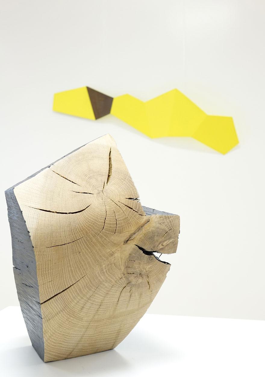 sculpture chêne carbonisé brut