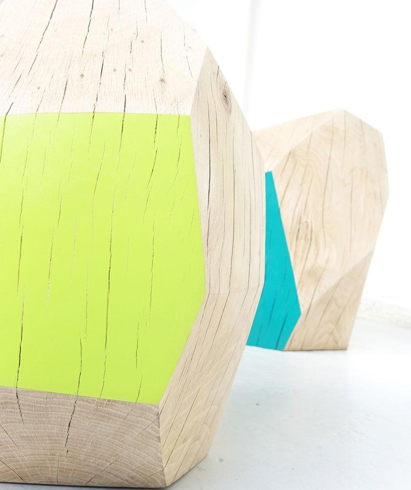 Sculpture bois couleurs Guillaume Castel
