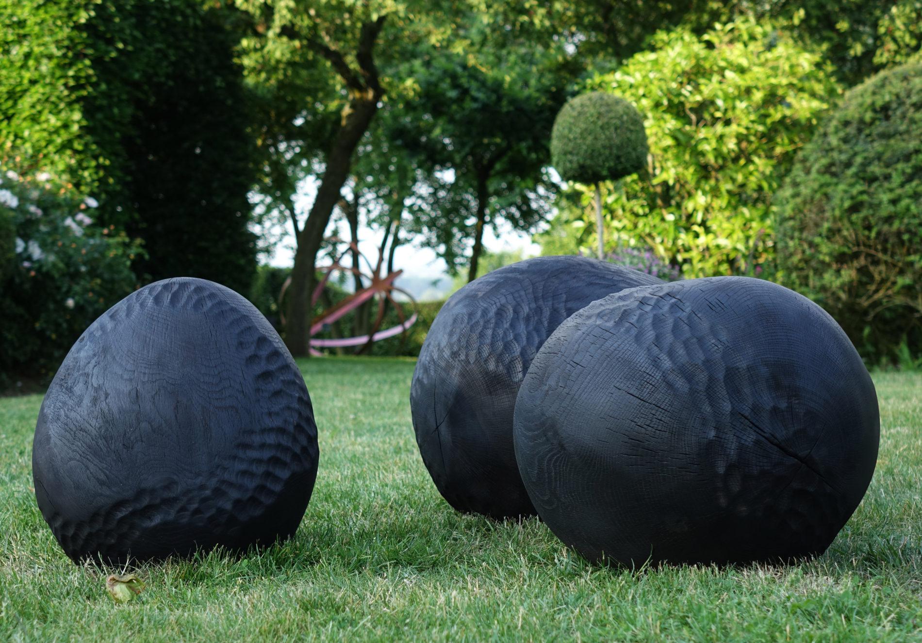 bois carbonisé sculpture Bretagne Ballon